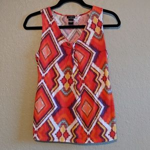 Ann Taylor Red Geometric Tank